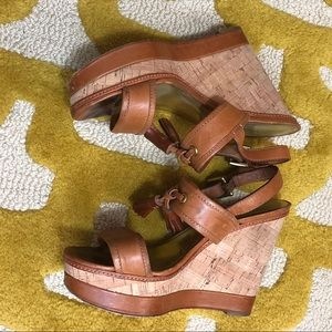 Coach Cognac Leather and Cork wedges w tassels